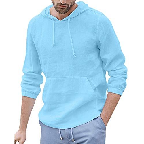 VANMO Herren Hemd,2019 Sommer Fashion Herren Summer Button Lässige Bluse aus Leinen und Baumwolle mit Langen Ärmeln Bequem Atmungsaktiv Faltenresistenz Stehkragen Hoodie