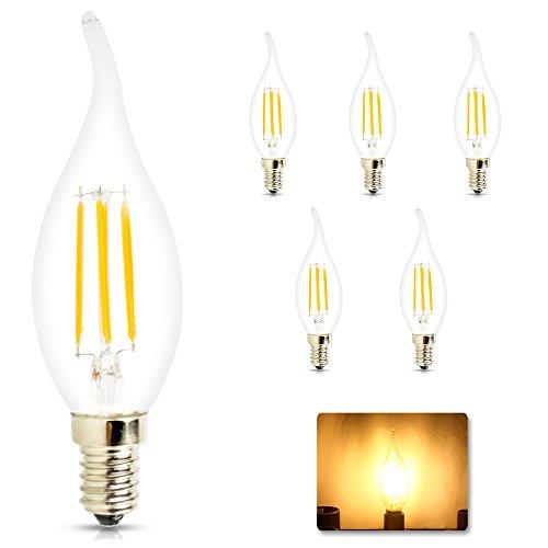 Mengjay® 4W filamento LED lampada della candela, 2200-2700K bianco caldo 360 lumen, sostituzione di 40W lampadine a incandescenza attacco E14, 220V AC,
