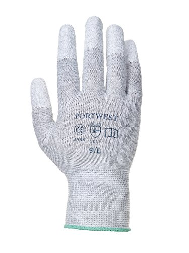 ESD Antistatischer PU Fingerspitzen Handschuh grau/weiß- ideal für den Einsatz in Elektronik- Messtechnik- und Präzisionsarbeit- CE zertifiziert- EN 420- EN 388- EN1149 (XL) -