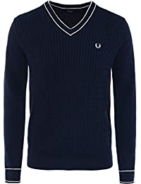 Fred Perry Hommes câble tricot pull col v Carbone