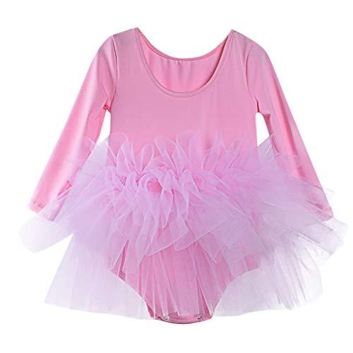 Weibliche Kinder tanzen Kleidung üben Tanz Tutu Kleid Ballett einfarbig Tanz Rock Schwan Anzug (2-6 Jahre alt)(Rosa, S)