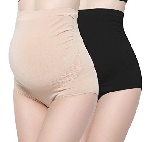 ZUMIY Schwangerschafts-Unterwäsche, Damen Ultra High Waist Schwangerschaftsslip Mutterschaft Unterhosen (Nylon-elasthan-slips)