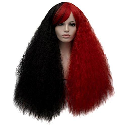 ge Haare Wild Curly volle natürliche Perücke für Halloween Christmas Party Kostüm Perücke 27,56 Zoll + Perücke Cap (Die Verrücktesten Halloween-kostüme)