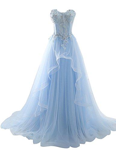 Clearbridal Damen Tüll Bandeau Lang Abendkleid Ballkleid Abschlusskleid Prinzessin mit Spitze...