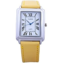 Yileiqi Unisex Men's Women's Silver Bezel White Face Rectangle Dial Yellow PU Leather Strap Watch Analog Quartz Hook Buckle Clasp Extra Battery