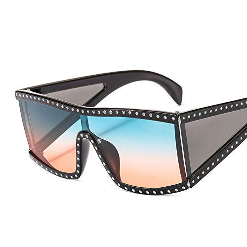 Taiyangcheng Polarisierte Sonnenbrille Kühle Flache Oberseite übergroße Sonnenbrille Frauen Männer Luxusdiamant-Niet-Weinlese-Sonnenbrille-weibliche männliche große Rahmen-Schutzbrille,a2