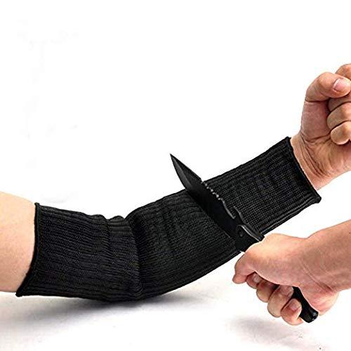 1 paio di manicotti di protezione per il braccio in kevlar da 43,2 cm, neri, anti-taglio, resistenti alle ustioni, anti abrasione, di sicurezza, per giardino, cucina, fattoria, lavoro