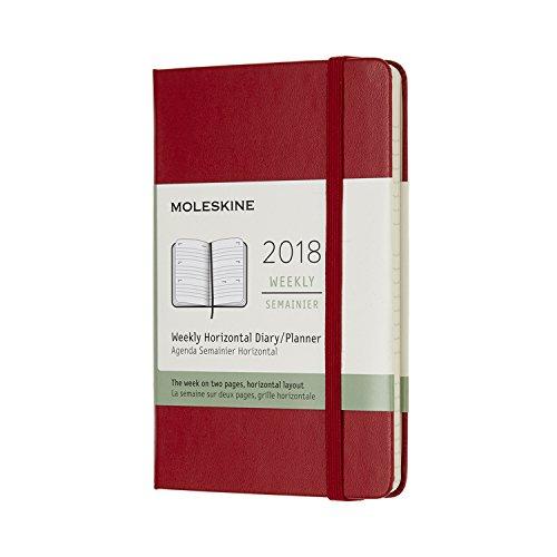 Moleskine Agenda Settimanale, 12mesi, orizzontale, 2018, Hard Cover A righe Tascabile rosso scarlatto