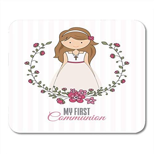 Luancrop Mausunterlage Vintag Mein erstes Kommunion-Mädchen-schönes Kleid und Blume Mousepad für Notizbücher, Tischrechner-Mausunterlagen, Bürozubehöre