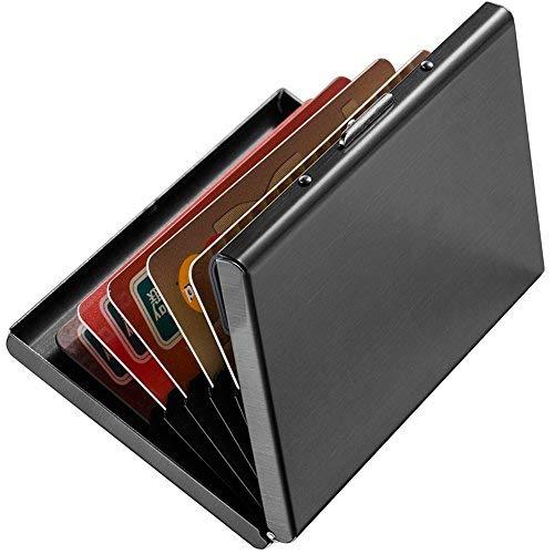 Enyoir Schlank RFID Kreditkarte Schutz Geldtasche, Block Identity Diebe, Edelstahl Aluminium Metall Halter Fall Brieftasche mit 6 PVC-Schlitze (Schwarz) -