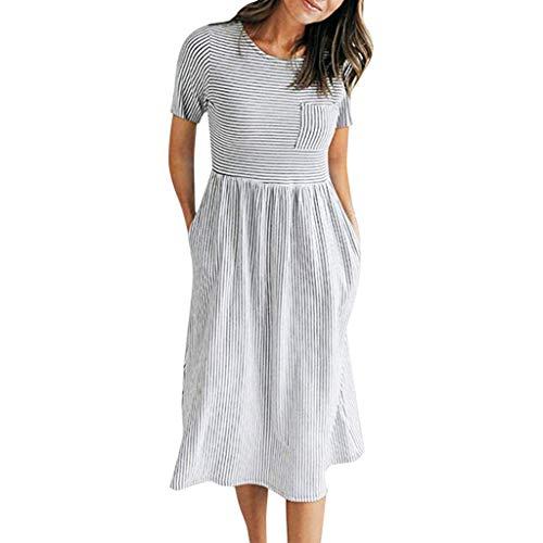 TUDUZ Mujer Vestidos Delgado De Manga Corta Verano Boho Raya Maxi Vestido De Noche Fiesta Sun Dresses (Blanco, L)