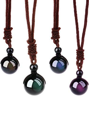 4 Piezas de Collar de Obsidiana Negra Natural...