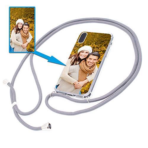 PixiPrints Personalisierte Handykette Foto-Handyhülle mit Band selbst gestalten * Bedruckt mit eigenem Foto und Text, Kompatibel mit Apple iPhone XS Max, Farbe Dunkelgrau