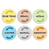 6 Mülleimer-Aufkleber zur Mülltrennung I Sticker-Set für gelber Sack Biomüll Altglas Altpapier Restmüll Kunststoff I dv_315