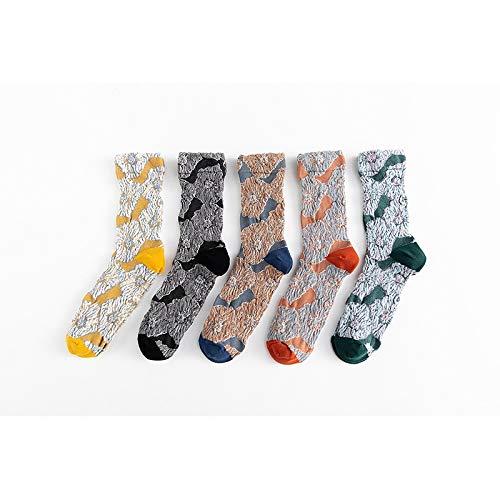 Chensc Warme und Bequeme Atmungsaktivität für Frauen Jahreszeiten atmungsaktiv Deodorant Piles von Socken in Rohr 5 Paare von Mischmitteln Geeignet für tägliche Reisen und Sport