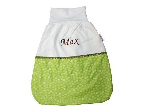 Baby Schlafsack Pucksack Strampelsack 50 cm Punkte Hellgrün mit Namen bestickt - Schriftzug Dunkelbraun