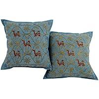 Unico blu Set di 2 federe decorativi 16 del 16 Camel ricamato Cushoin copertina attraente cotone cuscino Shams By Rajrang