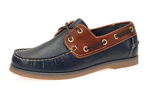 Jim Boomba Boat Shoe Segelschuh Dockside Deckschuh aus echtem Leder | Cedar Brown / Hellbraun Navy Blue / Cedar