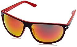 Police Iridium Wayfarer Unisex Sunglasses (S1958M64NVBRSG|64|Green with Red Mirror lens)