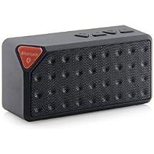 DESOCO X3 Mini altavoz Bluetooth portátil TF inalámbrico manos libres FM Radio construido en micrófono MP3 para llamadas manos libres (Negro)
