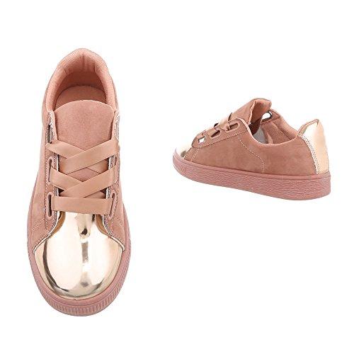 Ital-Design Sneakers Low Damenschuhe Sneakers Low Sneakers Schnürsenkel Freizeitschuhe Pink Gold RA1041