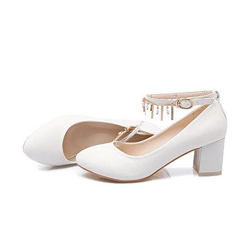 AllhqFashion Femme à Talon Correct Mosaïque Boucle Matière Souple Rond Chaussures Légeres Blanc
