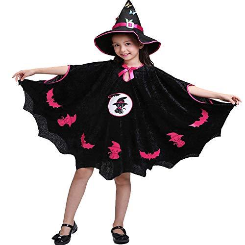 QINGQING Kinder Baby Mädchen Hexe Dress up Halloween Kinder Durchführung Kleidung Kostüm Kleid Party Umhang + Hexe Hut + Candy Tasche Kinder Mädchen Halloween Kleidung Kostüm (Size : 100(3-4years))