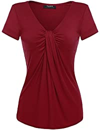 Zeagoo Women V Neck Twist Knot Front Summer Short Sleeve Solid Casual Blouse Tops