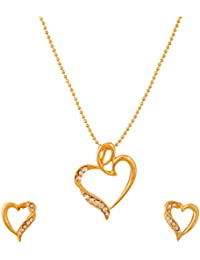 Touchstone Gold Plated Heart Pendant Set For Women