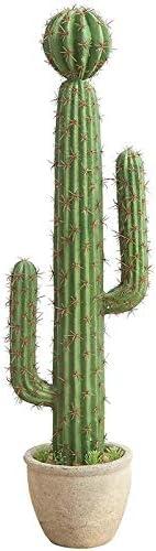 ProtonStore Artificial Plant Faux Fake Saguaro Cactus Artificial Potted Plants in Cement Planter Pot for Home