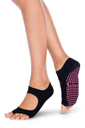 Tucketts Yoga Socken Stoppersocken Damen anti Rutsch Abs Socken, Toeless rutschfeste für Pilates, Barre, Studio, Bikram, Ballett, Tan - Allegro Stil (Schwarz)