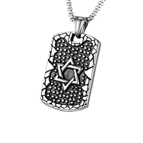Fengteng Schwarz Stein mit Silber Davidstern Anhänger, Herren Halskette Dog Tag Hexagramm Symbol des Judentums Edelstahl Rechteckform Schmuck