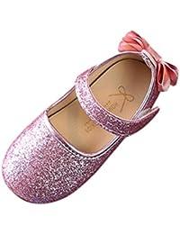 BeautyTop Scarpe da Bambina Ballerina Neonata Scarpe da Principessa Ragazze Floreale Mary Jane Basse Pantofole Scarpe da Barca Sandali Bridal Partito Formale (12-18 Mese, Argento)