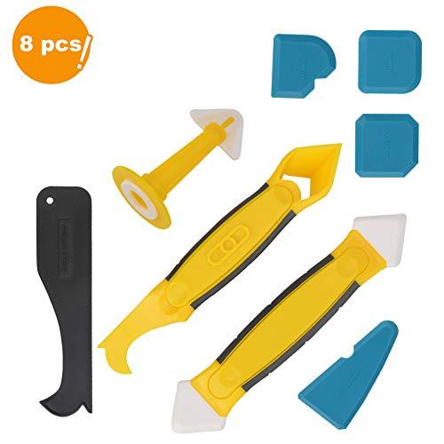 Silikonentferner & silikon fugenwerkzeug, JTENG 8 in 1 Profi Fugenwerkzeug Multifunktionale Silikon Kratzer Entferner Werkzeug Schaber Set für Küche Badezimmer Boden Dichtstoff Versiegelung