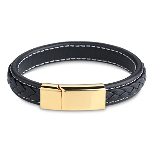 Heyrock Magnet Stainless Steel Clasp Handmade Genuine Leather Braided Men's Leisure Bracelet (Gold)