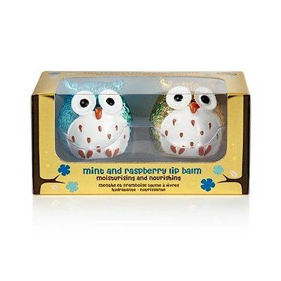 NPW Metallic Owl Lip Balm Mint/Raspberry (2Stück, blau/gold) - Owl-guard