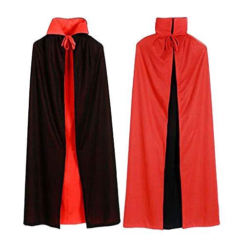 Kostüm Alten Spuk - Electz Mode Unisex Wendehalsband Halloween Umhang Magier Vampir Teufelsgeist Cape Kostüm Cosplay Schwarz Rot,80cm