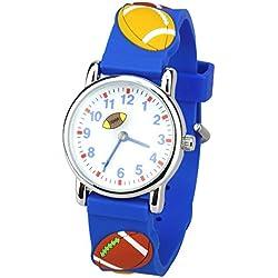 Leaders Dirigentes hijos tiempo maestro reloj reloj de cuarzo con fácil leer la historieta 3D reloj de silicona suave banda Comodo para los niños lindos de Rugby