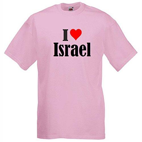"""T-Shirt """"I Love Israel"""" für Damen Herren und Kinder in Pink Pink"""