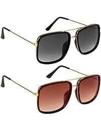 Dervin UV Protection Square Unisex Sunglasses (Black, Brown) - Combo of 2