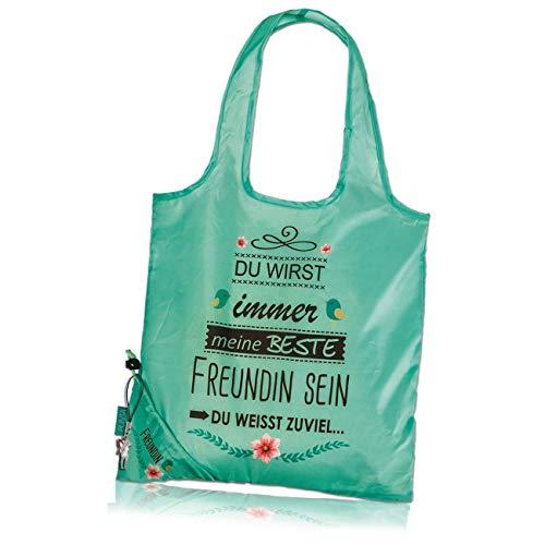 Punta Einkaufstasche Falttasche grün witziger Spruch inkl. Fee-Anhänger OTI100G