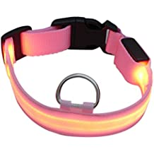 LED collar de perro, intermitente LED collar de seguridad para perros Nylon luminoso collar de perro nocturna con USB recargable