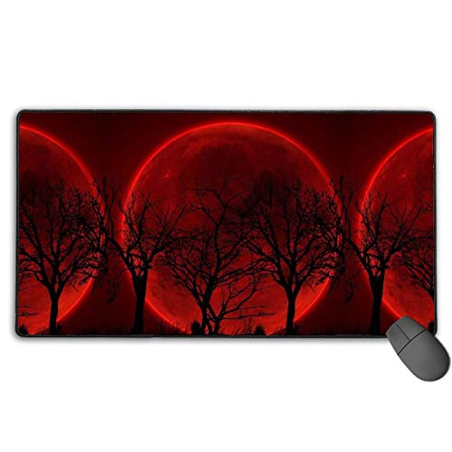 liulishuan Large Gaming Mouse Pad/Mat, Red Blood Moon Lunar Eclipse Custom Mouse Mats with Non-Slip Rubber Base for Computer Laptop Keyboard Desktop, Durable Stitched Edges Multicolor15 -