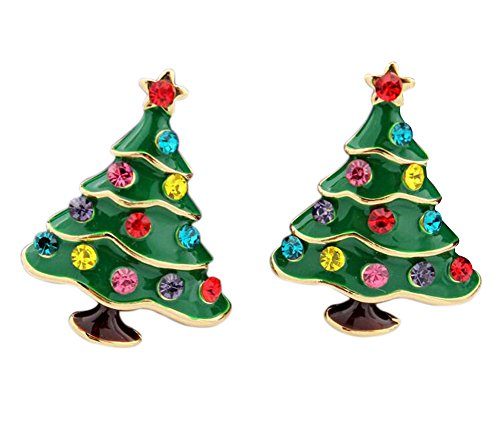 - 41wILq6qk1L - Hosaire 1 Pair Fashion Lovely Crystal Christmas Tree Ear Post Earring For Women's Girl's Jewelry Accessories(Green)