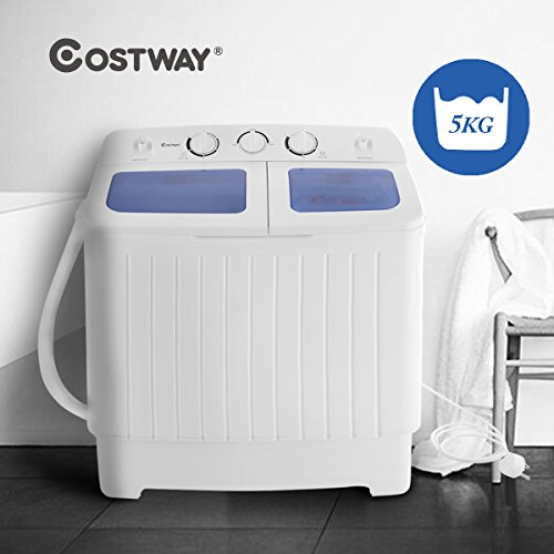 Costway Mini Twin Tub Washing Machine (5KG Washing + 3KG Drying) Portable Washer Spin Dryer Compact 300W