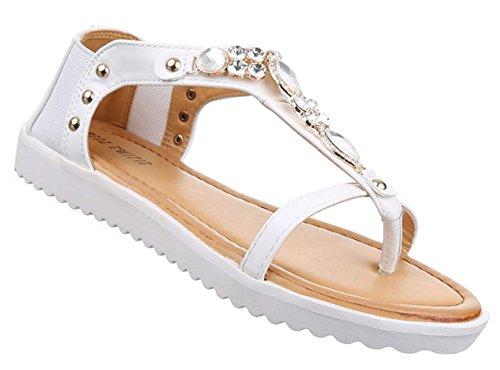 Senhoras Sandália Flip-flops Sapatos Flip Flops Sapatas Das Senhoras Decoração Pedras Prata Ouro Negro Branco 36 37 38 39 40 41 Branco