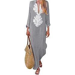 Damark(TM) Vestidos Mujer Casual Vestido de Verano Largo Maxi Falda Mujer Cuello en V Estampado de Manga Larga Fiesta Mujer Boho Playa Sundress