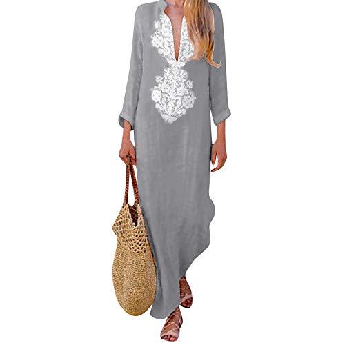 Sannysis Damen Maxikleid Langes Elegantes Kleid Strandkleider Türkischer Stil Boho Strandponcho Lose Maxi Kimono Kaftan Tunika Lange Sommerkleider (XL, Grau-2)