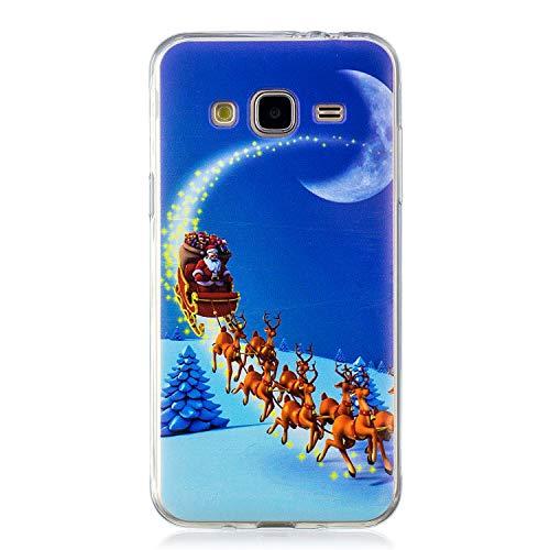 RosyHeart Custodia Samsung J3 2016, Cover Galaxy J3 2016 Silicone, TPU Ultra Sottile Case Regalo di Natale Cover per Samsung Galaxy J3 2016 Anti-Graffio Protettivo Bumper(Luna di Natale)