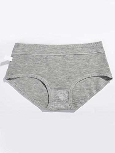 Satinior Damen Baumwoll-Slip Komfort Unterwäsche Schlüpfer Solid Color Unterhose, 3 Stück Schwarz, Grau, Beige